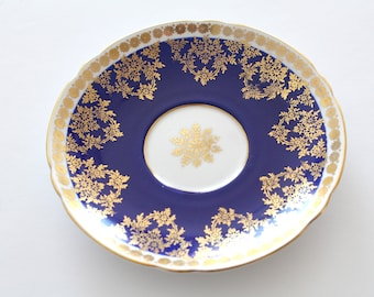 SAUCER, Vintage, Fine Bone China Saucer by Shelley, Replacement China, Gold and Cobalt Blue Pattern - c. 1940 - 1966