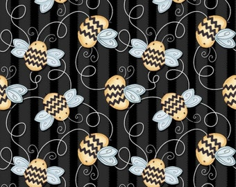 Tossed Bees Black - Sew Bee It Collection by Shelly Comiskey 6644-99 (sold by the 1/2 yard)