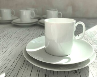 Thomas, Germany white porcelain tea trio. Beautiful simple design from Thomas, Germany. Tea trio for two.