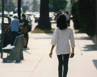 Vintage 1992 Original photo Street shot of a Young woman Walking Away ~ B83 from the USA