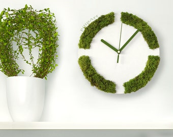 WHITE WALL CLOCK, greenery home decor spring decor indoor vertical garden, white and green clock, Moss wall decor, Living Moss Wall Garden