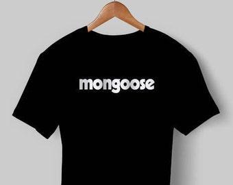 NEW Printed Mongoose BMX Cycling T Shirt Top Black White old school 80s bike 20