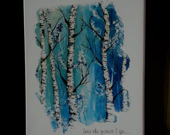 Aspen Tree Art print  8 x 10 heavy card stock print with black 11 x 14 matte and heavy card stock backing. free shipping