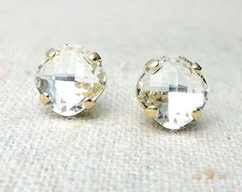 Swarovski Crystal Faux Diamond Post Earrings Cushion Cut Square Rose Gold Earrings Bridal Jewelry Wedding Earrings Bridesmaids Gifts