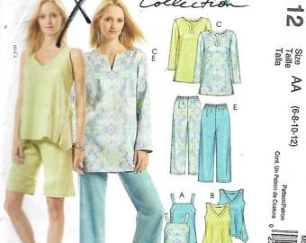 McCall's 5112 Misses/Miss petite Tunics, Top, Shorts & Capri Pants Sewing Pattern, Size 6-8-10-12, UNCUT