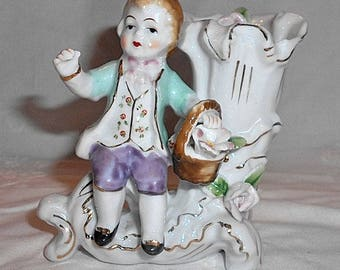 Vintage Shabby Cottage Victorian Boy Bud Vase Porcelain Flowers