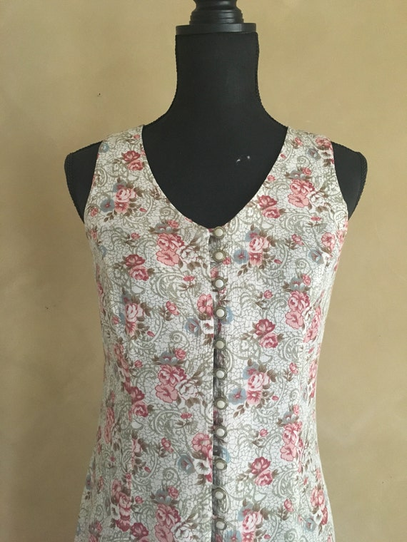 Floral Dress Vintage 80's Pearl Buttons Lace up Back