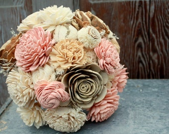 Sola flower bouquet, wedding bouquet, champagne, eco flower, blush pink wedding flowers, neutral, rustic bouquet, alternative keepsake
