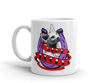 Sphynx Cat Mug - Sphynx Cat Coffee Cup - Purple/Red Logo Stay Lucky Cat Mug - Products that give back - Hairless Cat Mug Made in the USA