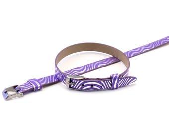Silver pattern Purple Leather Bracelet