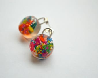 CONTEMPORARY PADLOCK EARRINGS - Colourful resin studs with sterling silver