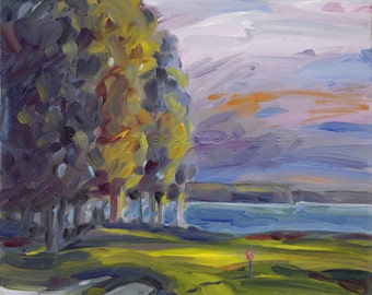 "Golf Art. Golf Gift. The Reserve Golf Club, Lake Keowee, SC - ""Twilight"". Print of original oil painting."