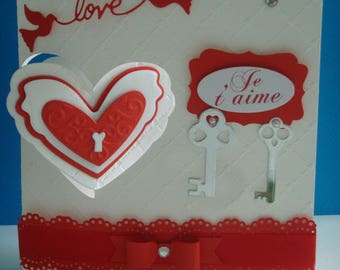 Kit card double hearts white and Red make you even