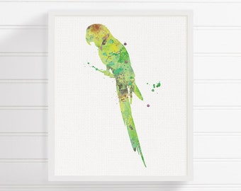 Green Parrot Art - Watercolor Parrot - Parrot Print - Parrot Painting - Nursery Wall Decor - Kids Room Decor, Childrens Room Decor, Bird Art