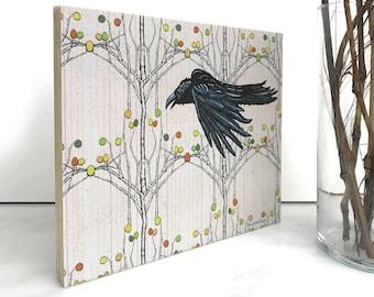 Crow Wall Art, Countryside Art, Blackbird Print, Bird Wood Art Print, Picture Of Crow, Bird Home Decor, Wood Frame Bird Print