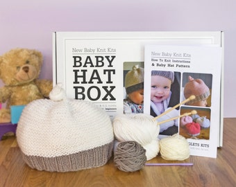 Baby Hat Beginner Knitting Kit / Gift knitting needles / Learn to knit / Easy knitting kit / Baby shower gift / Baby announcement / Baby hat