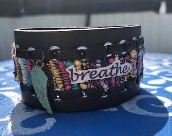 hippie leather boho cuff bracelet