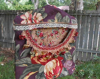 Scrappy APPLE & PLUM Clothespin Bag Fresh Air Laundry Drying Rich Color Tassels Vintage Lace Roomy Pocket, Sturdy Handmade Pinch Pegs Hanger
