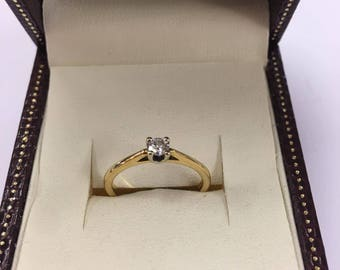 Vintage 18ct Yellow Gold Diamond Solitaire Ring Size L
