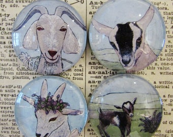 Magnet Set of Four Goats - Farmhouse Decor - Original Art - Handcrafted Glass Magnet - Rare Earth Magnet - Gift for Mother - Gift for Friend