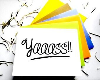 """Set of congratulations cards- """"Yaaaass"""" card- Good news card- Celebration card-set of 4"""