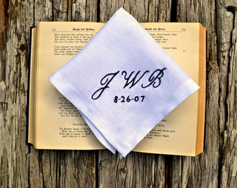 Monogrammed Handkerchief with Wedding Date, Wedding Pocket Square, Personalized White Linen Hankerchief Wedding Day Embroidered Handkerchief
