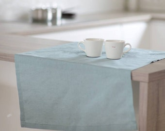 Dusty green table runner, linen.