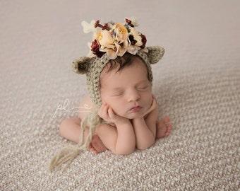 Reindeer Bonnet, Flower Bonnet, Floral Bonnet, Garden Bonnet, Sitter Bonnet, Christmas Bonnet, Baby Photo Prop, Newborn Photo Prop,