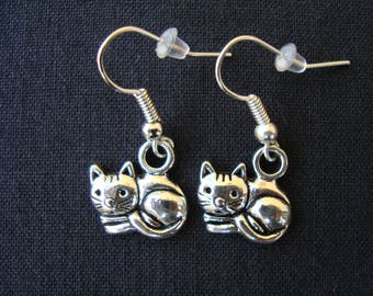 Cat earrings-handmade jewelry-gift for cat lovers-cat-cat earrings gift idea