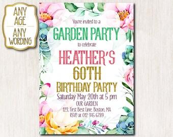 60th garden party invitation, 50th birthday party Invitations, Summer garden party invitation, Floral birthday invitation ANY AGE - 1648