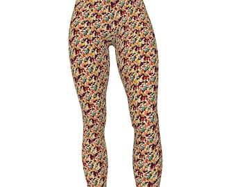 Marathon Runners Stampede Print, High Waist Women's Yoga Pants / Workout Tights