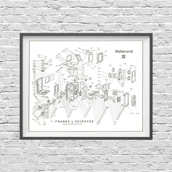 Rolleicord tlr camera poster art print blueprint like this item malvernweather Image collections