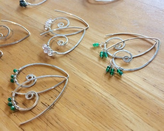 Wai and kai swirls in Sterling silver with choice of faceted rondelle gemstones