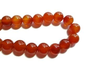 Carnelian - 12mm Round Bead - Full Strand - 32 beads - Red Agate - Orange Stone - Rust - translucent