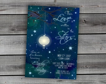 "Whimsical Bridal Shower Invitation - Midnight Blue Sky - Stars - ""Written in the Stars"" - bridal / wedding shower invitation"