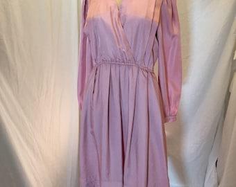 Vintage 60s 70s Dress Joan Sparks for Daniel Barrett Dusty Rose Pink V Neck Gathered Waist