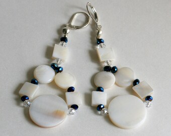Gift Set, Shell Beads, Blue and White Necklace and Earrings, Mad Men Era, Sixties Inspired Jewelry, Nautical Gift Set, Beach Earrings