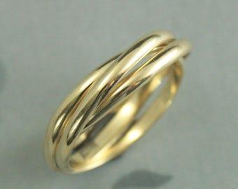 Fidget Ring~Solid 14K Rolling Ring~Gold Interlocking Ring~Three 2mm wide Half Round Bands~Russian Wedding Band~Gold Wedding Ring