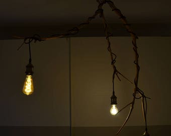 Wooden Ceiling lamp wood natural chandelier with olive branch natural