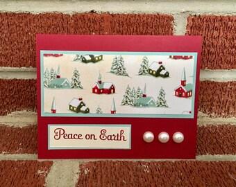 Peace on Earth winter houses Christmas Card