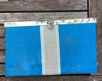 Blue Beige Ribbon Metal Frame Wallet, Metal Frame  Clutch, Wallet , Clutch , Bride Clutch, Bridesmaid Clutch