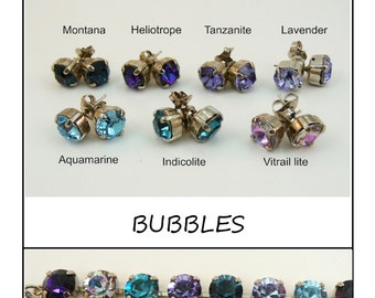 Aqua Blue Purple Studs Violet Choose Your Color 8mm Swarovski studs,Aquamarine post earrings,,aqua studs, Silver finish,BUBBLES, SE1
