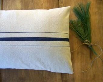 free shipping - grainsack pillow cover - navy blue stripe - canvas - vintage style - farmhouse - grain sack