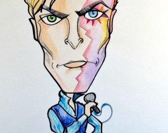 Color David Bowie Rock Caricature Rock Portrait Music Art by Leslie Mehl Art