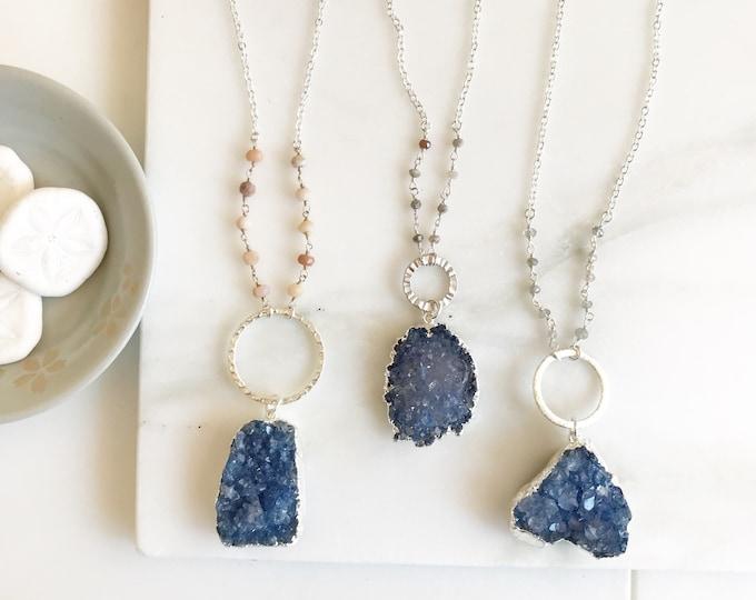 Blue Raw Druzy Long Necklace. Boho Jewelry Necklace. Boho Necklace Long. Silver Boho Necklace. Long Amethyst Necklace. Raw Stone Necklace.