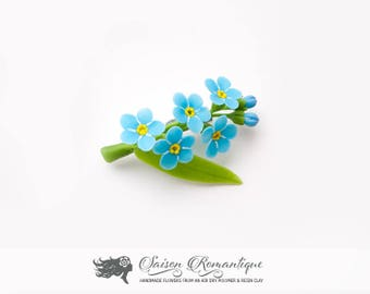 Brooch Forget-me-not - Polymer Clay Flowers - Mothers Day Gift for Women Blue Brooch Gift For Her Flower Brooch Clay Brooch Forget Me Not