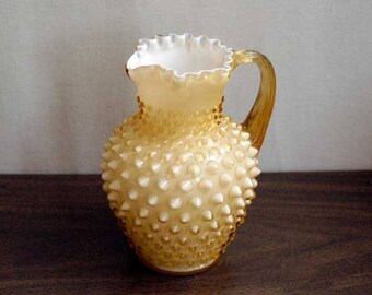 Fenton Glass Hobnail Pitcher, Honey Amber Opalescent Case Glass, Art Glass, Vase, Crimped Edge, Rare, Vintage 1960s Table Decor, Orig. Label