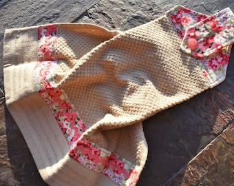 Hanging Cotton Kitchen Towel,  Embellished Pink and Taupe Terrycloth Hanging Hand Towel, Hanging Dish Towel