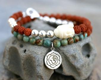 Rudraksha Seed Bracelet, Turquoise Gemstone and Sterling Silver Beaded Bracelet, Om Charm, Buddha Charm, Double Wrap Bracelet, Yoga Jewelry