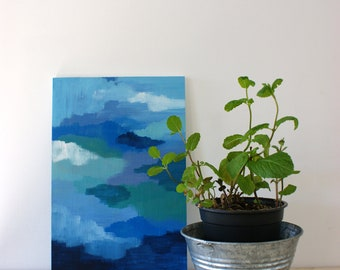 Moods shades abstract painting on small wooden panel - original - blue green - small panel - flexible decoration